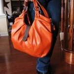 Large Orange Leather Bag, ..