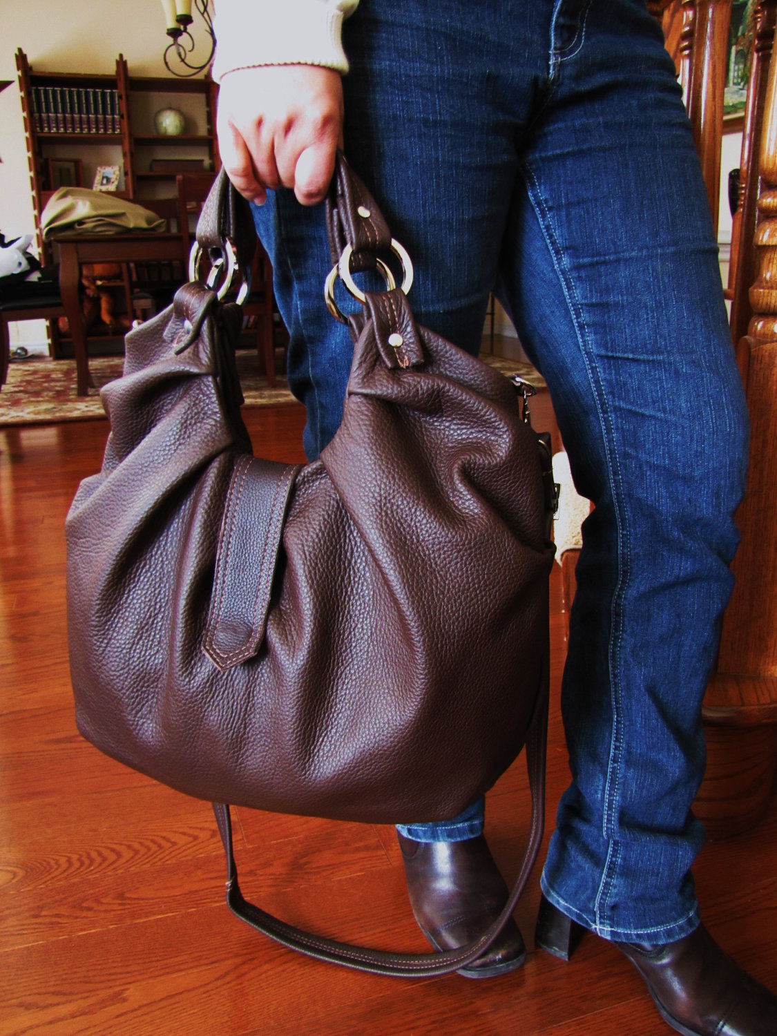 Large Brown Leather Hobo Bag, Pleated, Satchel, Boston Bag ...