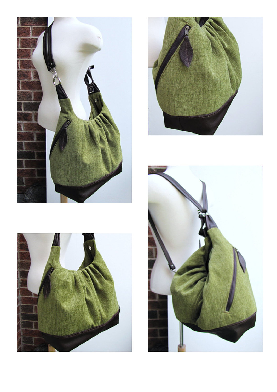 READY TO SHIP Green Canvas Leather Bag, Extra Large 17 Inches