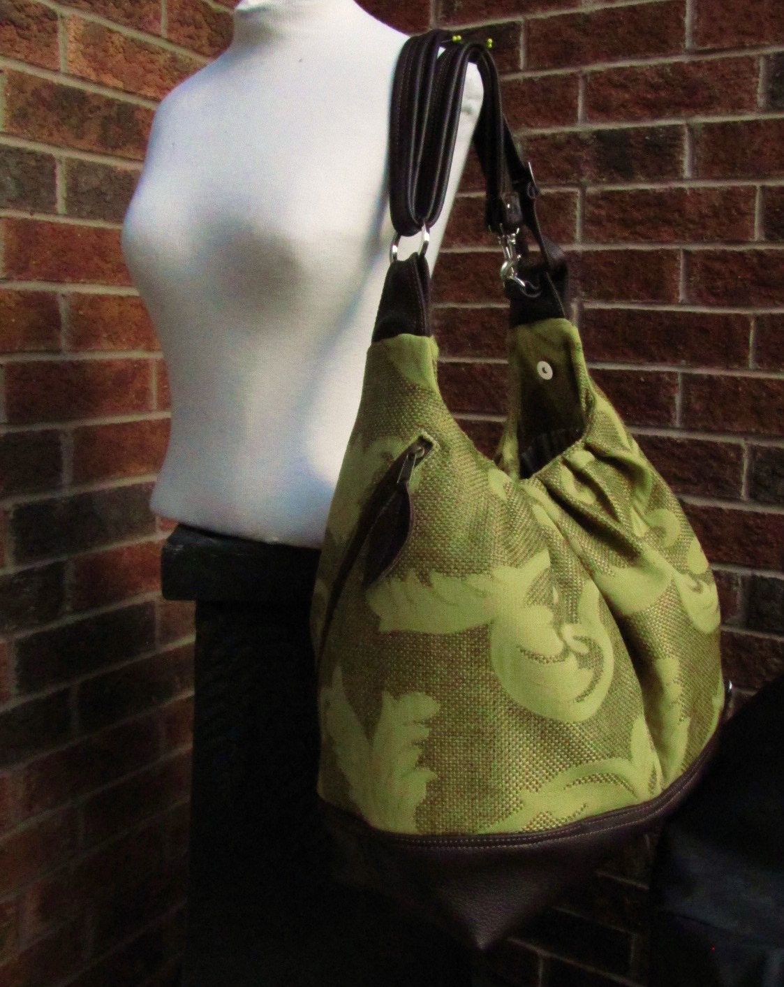 Extra Large Diaper Bag In Canvas And Leather Straps, Base